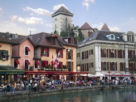 Old Annecy restaurants, France,  city general view