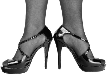 Sexy shoes and legs in black and white 版權商用圖片