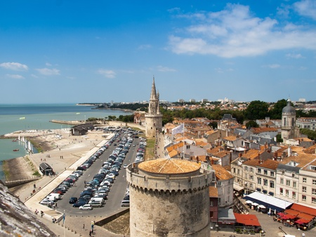 La Rochelle old city entrance wall in summer