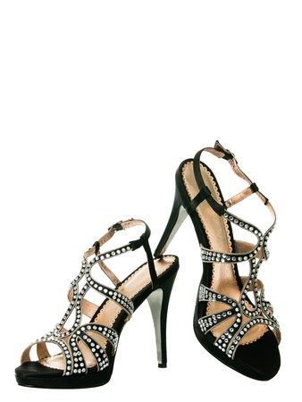 Sexy blingbling coktail women shoes isolated on white background Reklamní fotografie