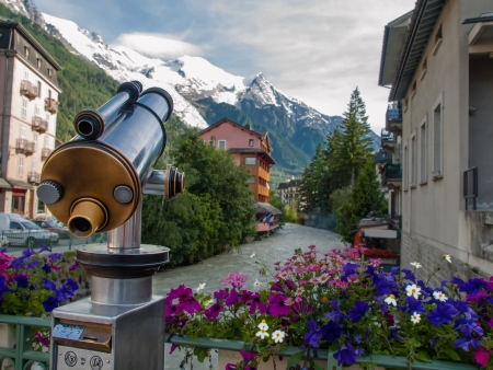 Spyglass pointing on mountains in Chamonix, France Stock Photo