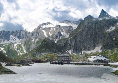 st bernard: Summer lake in Grand Col du St-Bernard, Switzerland Stock Photo