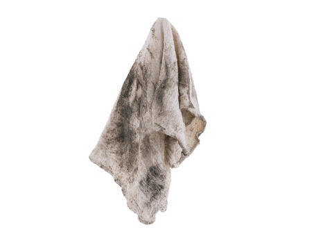 dirty: Dirthy rag suspended isolated on white background Stock Photo
