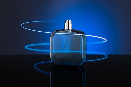 perfume woman: Blue bottle of perfume  isolated on blue background Stock Photo