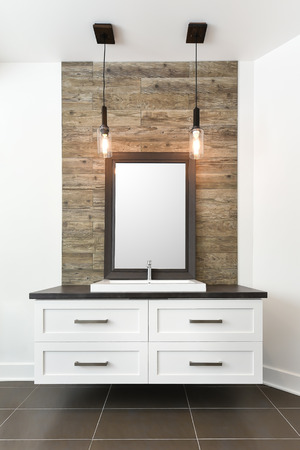 bathroom mirror: White bathroom contemporary cabinet Stock Photo