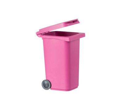 Pink garbage container isolated on white background