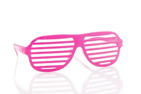 80s: Pink 80s slot glasses isolated on white background 34 view