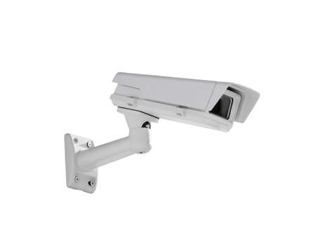 watertight: Heavy duty exterior surveillance camera side view isolated on white background