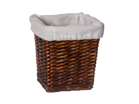 hamper: Empty rectangle wicker basket with liner isolated on white background