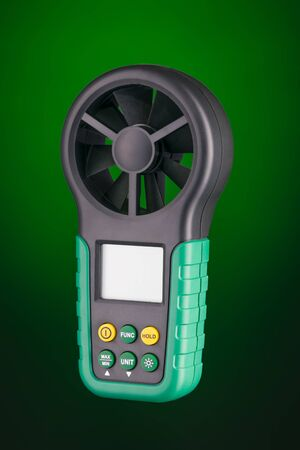 anemometer: Digital handheld anemometer 34 view  isolated on green background
