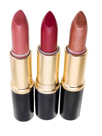 trio: Lipstick trio isolated on white background