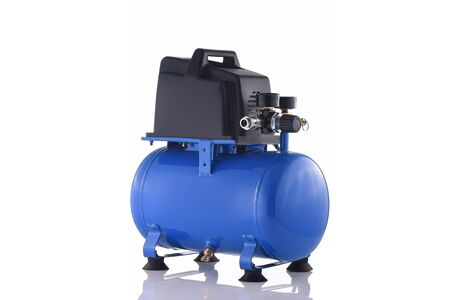 Mini blue compressor side view isolated on white background