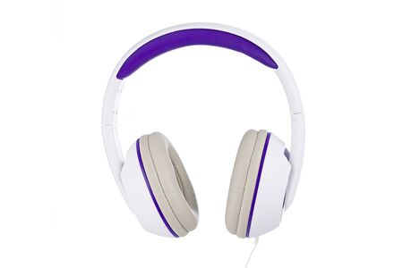 White and purple padded headphones front view isolated on white background 版權商用圖片
