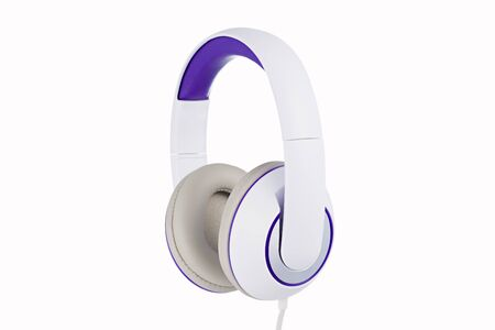 White and purple padded headphones side view isolated on white background