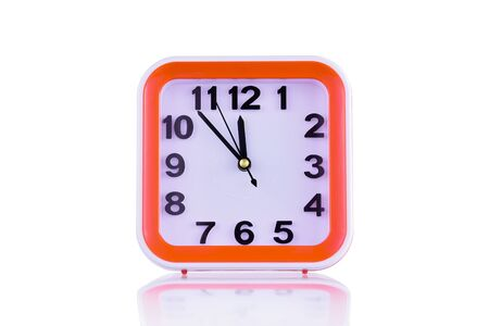 Square orange clock isolated on white background front view