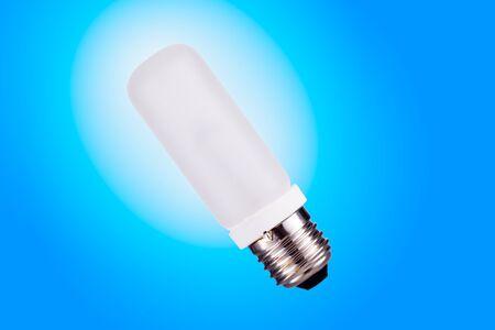 e27: E27 Strobes lightbulb isolated on blue background