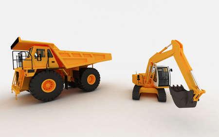 cargador frontal: Excavadora sobre amarillo y volcado de amarillo  Foto de archivo