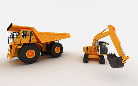 skid loader: Yellow Excavator and Yellow Dump