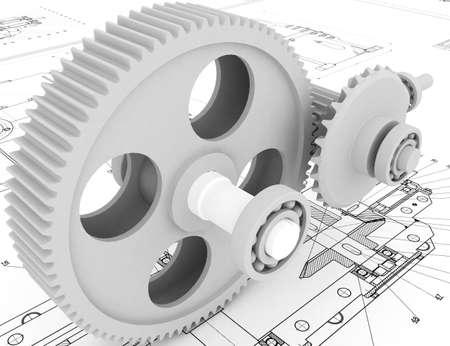dibujo mecánico con modelo 3d Foto de archivo - 5900805