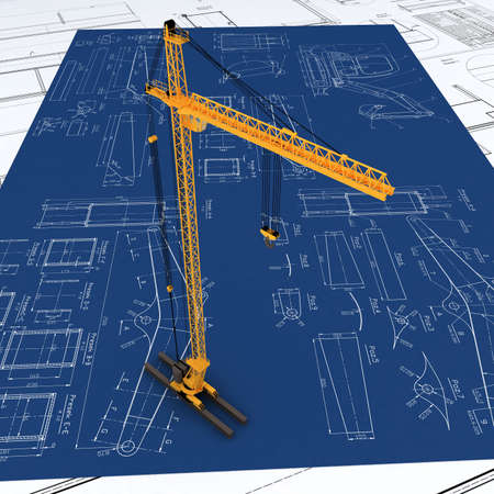 3D yellow crane Stock Photo - 5900971