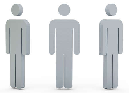 individualism: Three Metal silhouette of the person