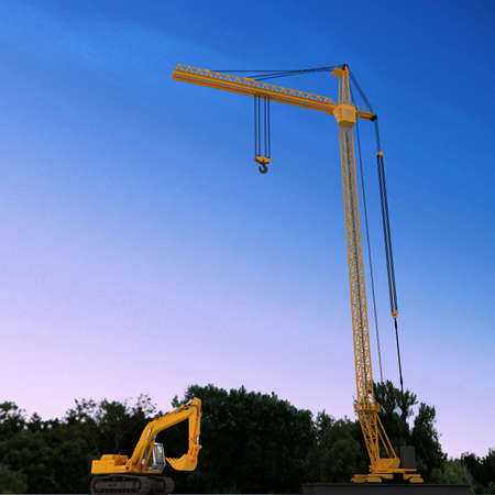 3D yellow crane Stock Photo - 5917388