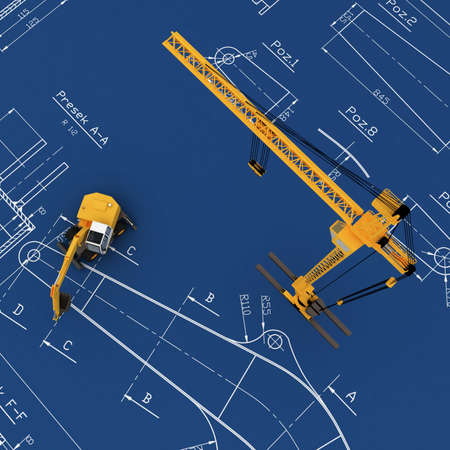 3D yellow crane Stock Photo - 5917387