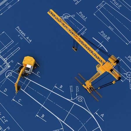 3D yellow crane photo