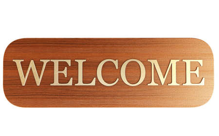 neighborly: Beautiful Welcome Sign With Metal Text Stock Photo