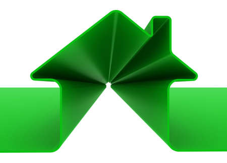 3d Green house sign isolated on white Stock Photo - 5926565