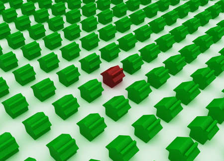 3d Green house sign with one red house isolated on white photo