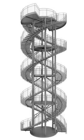 stair: Dubbele spiraal trap geïsoleerd op wit Stockfoto