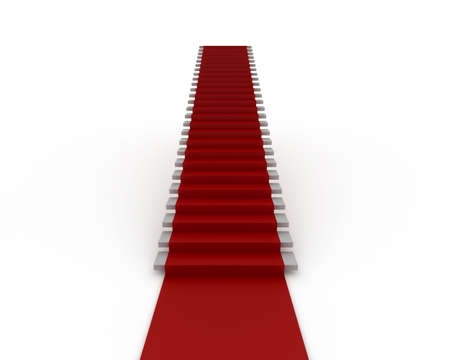 Stairway with red carpet isolated on white photo