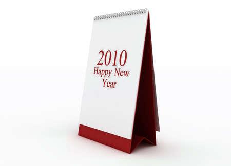 Happy new year 2010 red calendar Stock Photo - 6114264