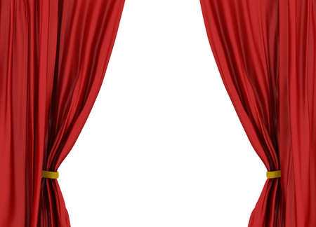 Red theater curtain isolated on white background