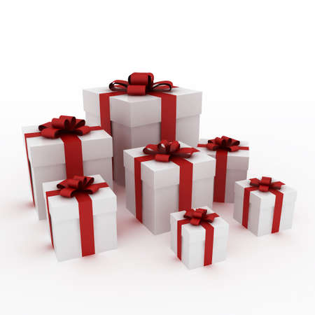 Beautiful white gift boxes with red ribbon isolated on white Stock Photo - 6109531
