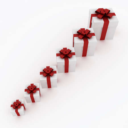 Beautiful white gift boxes with red ribbon isolated on white Stock Photo - 6110051