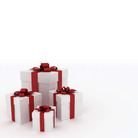Beautiful white gift boxes with red ribbon isolated on white Stock Photo - 6110089