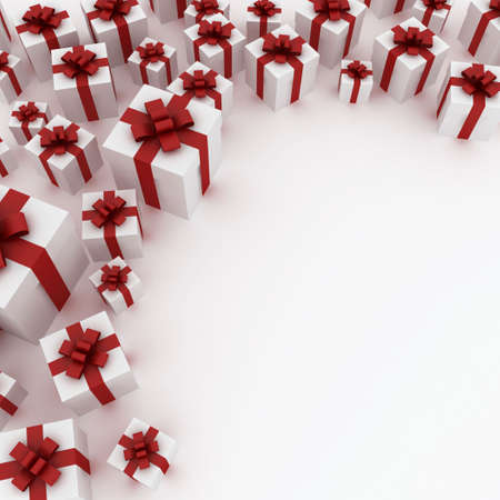 gift giving: Beautiful white gift boxes with red ribbon isolated on white