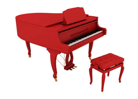 Beautiful red grand piano isolated on white background photo