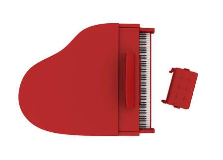 piano de cola: Hermoso rojo gran piano aislado sobre fondo blanco
