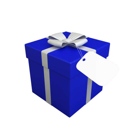 3D Render of beautiful Gift Box with Ribbon and Tag isolated on white photo