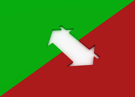 Fine 3d image metaphor of Red and Green house sign photo