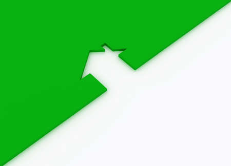 Fine 3d image metaphor of Green house sign photo