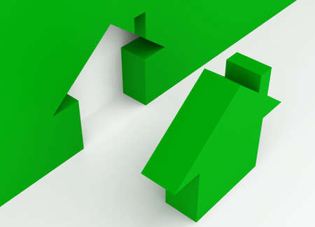 glossiness: Fine 3d image metaphor of Green house sign