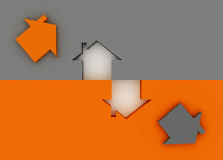 Fine 3d image metaphor of Orange house sign with silver background Stock Photo