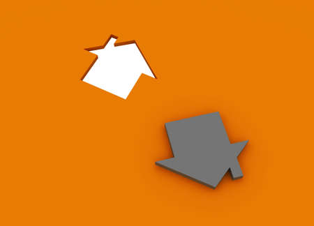 Fine 3d image metaphor of Orange house sign with silver background photo