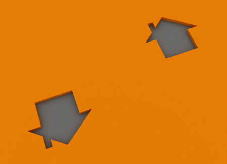 Fine 3d image metaphor of Orange house sign with silver background Stock Photo - 6301518