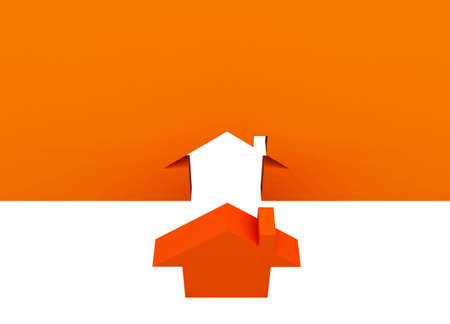 Fine 3d image metaphor of Orange house sign with white background Stock Photo - 6301665