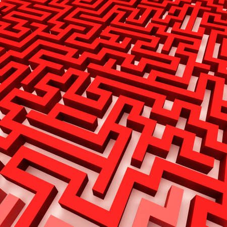 3d Render illustration of Simple red maze, Isolated on white and very easily to cut illustration